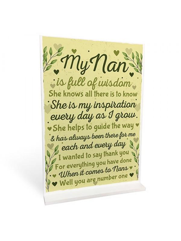 ThankYou Xmas Birthday Gift For NAN Nanny Standing Sign Keepsake