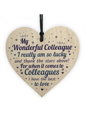 Colleague Plaque Wooden Heart Gift For Colleague Birthday Xmas