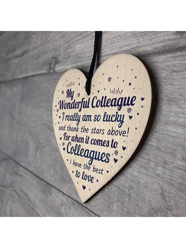 Colleague Plaque Wooden Heart Gift For Colleague Birthday Xmas