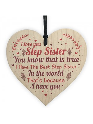 Step Sister Plaque Wood Heart Sign Step Sister Birthday Presents