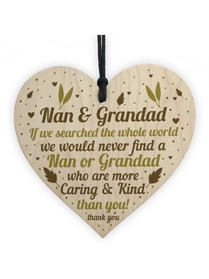 Handmade Grandparent Gift Wood Heart Nan And Grandad Gifts