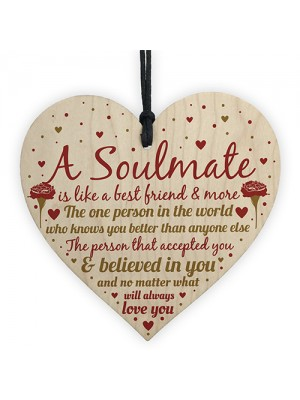 Soulmate Birthday Christmas Card Heart Anniversary Gift Sign