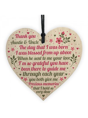 Auntie And Uncle Gifts For Christmas Wooden Heart Aunt Uncle