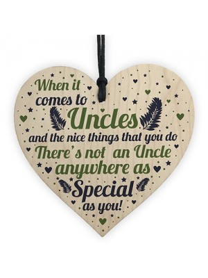Handmade Uncle Birthday Gifts Presents Wooden Heart Plaque