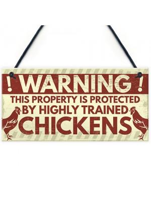 Novelty Chicken Warning Sign Pet Bird Hen Gifts Chicken Coop