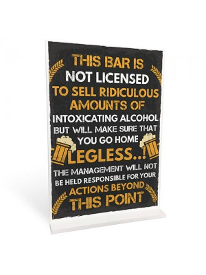 Funny Bar License Alcohol Sign For Home Bar Pub Man Cave Novelty