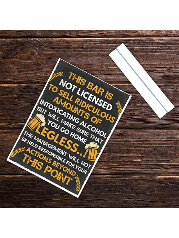 Funny Bar License Alcohol Sign For Home Bar Pub Man Cave Novelty