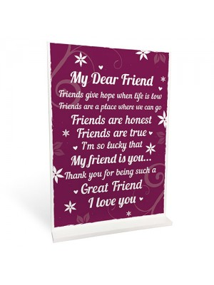 THANK YOU Gifts For Best Friend Standing Plaques Friendship Sign