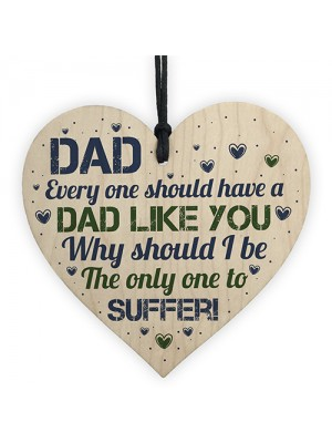 Hilarious FUNNY Dad Gift Ideas Wooden Heart Birthday Dad Gifts