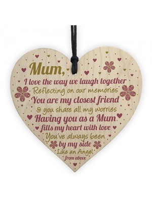 Mum Gifts From Daughter Wood Heart Mum Gifts From Son Birthday