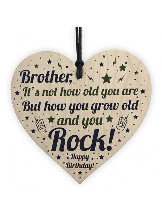 BROTHER Birthday Card Gift Wood Heart Funny Brother Gift For Men