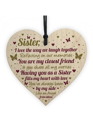 SISTER GIFTS Wood Heart Thank You Keepsake Love Plaque Gift