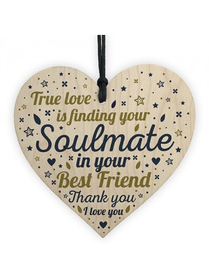 SOULMATE Gift Wooden Heart Best Friend Plaques Anniversary Gifts