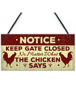 Chicken Gifts Hanging Warning Sign For Gate Garden Chicken Coop