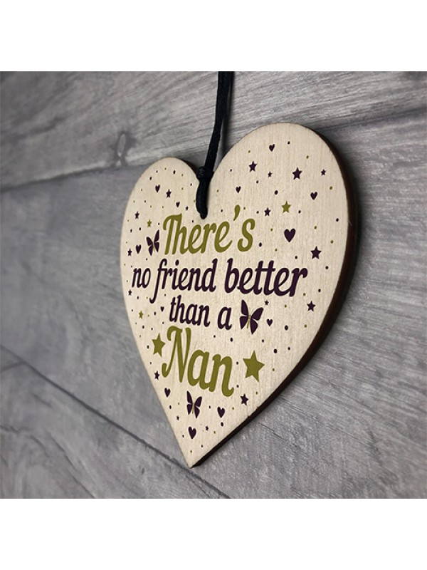 Nan Birthday Gifts Wooden Heart Friendship Plaque Thank You Gift