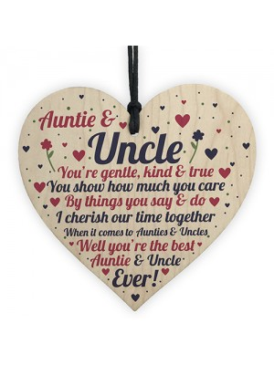 Auntie And Uncle Plaque Wooden Heart Quirky Gifts For Uncle Aunt