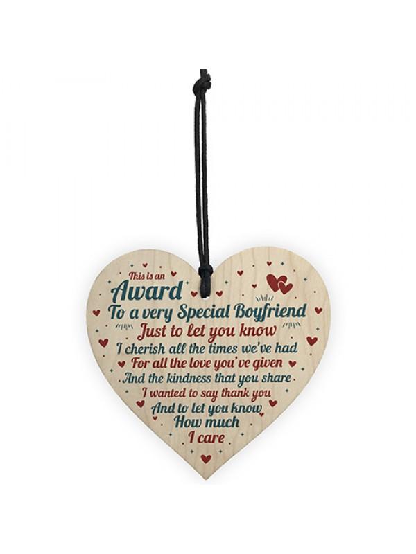 Handmade Valentines Gift For Boyfriend Wood Heart Relationship
