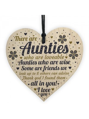 Auntie Gift Wooden Heart Auntie Decoration THANK YOU Gift Auntie