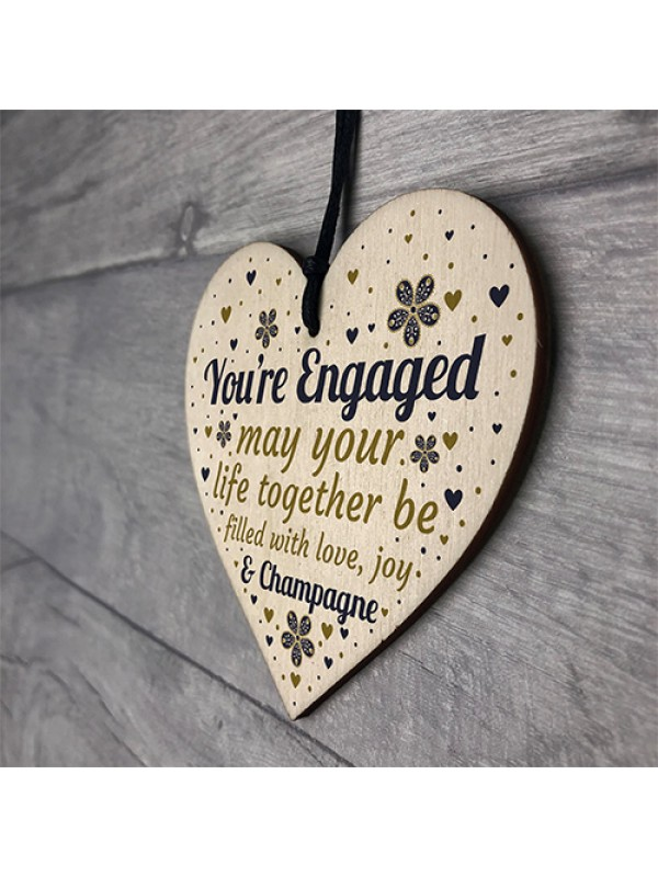 Engagement Gift Wooden Heart Wedding Gift Card Party Decorations