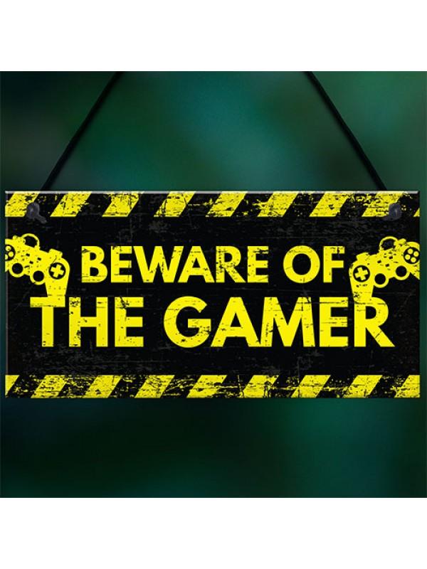 Beware Gaming Warning Sign Gifts Gaming Bedroom Accessories Gift