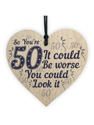 50th Birthday Gifts Novelty Wood Sign Funny Present For Mum Dad