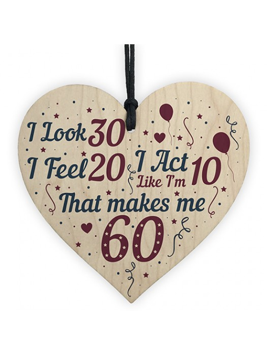 60th Birthday Novelty Gift For Mum Dad Nan Grandad Wood Heart