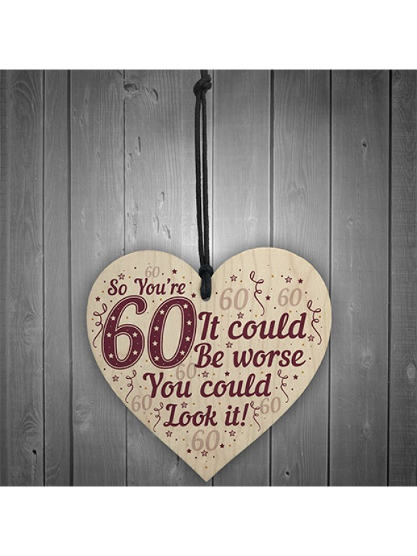 60th Birthday Decorations Wood Heart Funny Gifts For Dad Mum