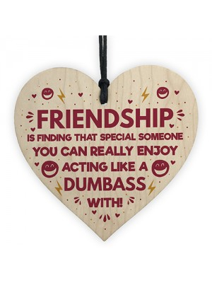 FUNNY Gift For Best Friend Wood Heart Friendship Plaques Gifts