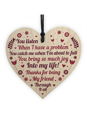 SPECIAL Thank You Gift For Best Friend Wooden Heart Friendship