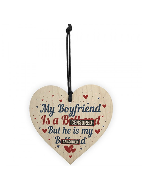 FUNNY Gift For Boyfriend Wooden Heart Boyfriend Birthday Card