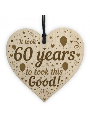 Funny 60th Birthday Gifts For Women Men Wooden Heart 60th