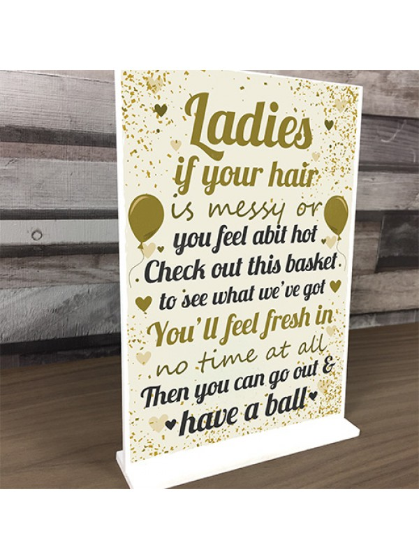 Ladies Toiletries Sign Wedding Table Decoration Standing Plaque