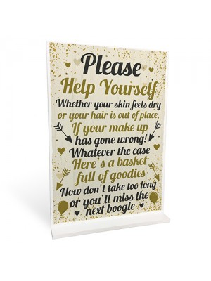 Toiletries Sign Wedding Table Decoration Standing Party Sign