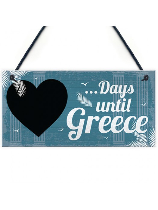 Chalkboard Holiday Countdown To GREECE Wall Sign Novelty Gift