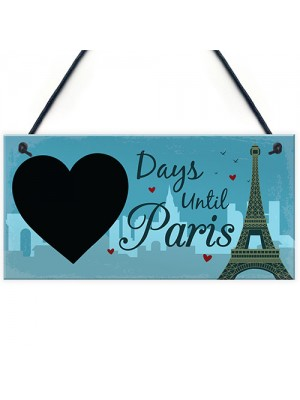 Chalkboard Holiday Countdown To PARIS Hanging Holiday Sign Gifts