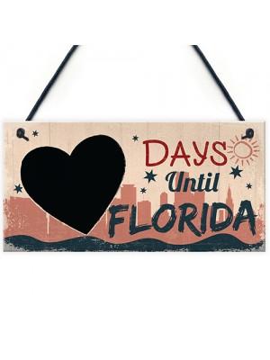 Chalkboard Holiday Countdown To FLORIDA America USA Hanging Sign