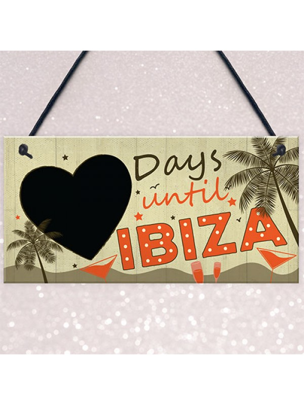 CHALKBOARD Countdown Holiday Ibiza Hanging Plaque Friendship