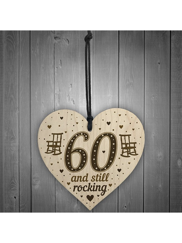 60th Birthday Gift For Mum Dad Nan Grandad Wood Heart Funny 60th
