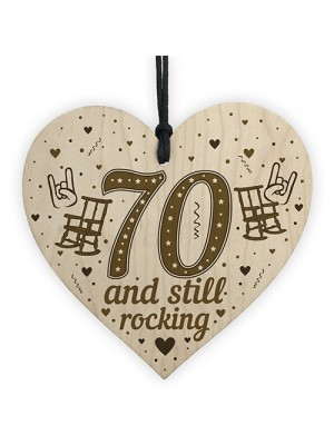 70th Birthday Gift For Mum Dad Nan Grandad Wood Heart Funny 70th
