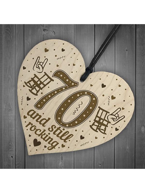 70th Birthday Gift For Mum Dad Nan Grandad Wood Heart Funny 70th