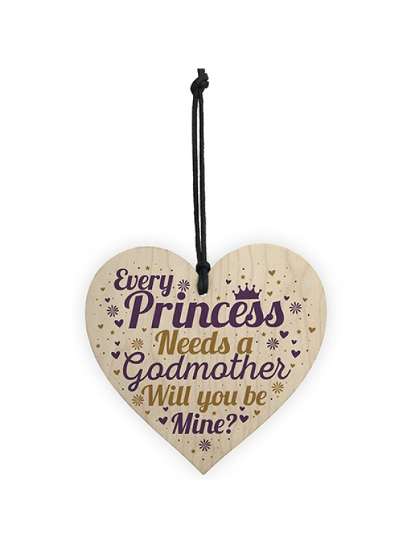 Will You Be My Godmother Plaque Godmother Wood Heart Request