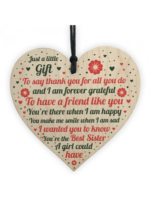 Sister Birthday Gift Wood Heart Sister Birthday Cards Funny Sign