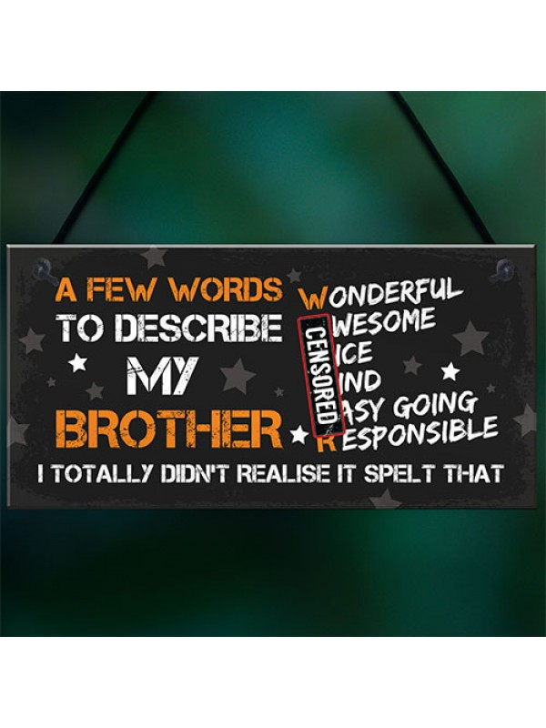 FUNNY Gift For Your Brother Hanging Plaque Birthday Him