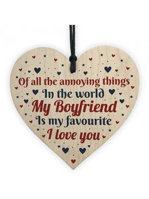 Funny Rude BOYFRIEND Gift Valentines Anniversary Wood Heart Sign
