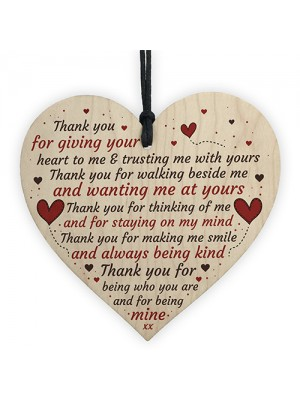 Thank You Heart Plaque Romantic Anniversary Valentines Day Gift