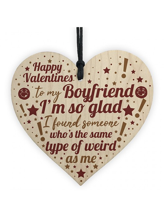 Novelty Valentines Gift For Boyfriend Gift For Him Wooden Heart