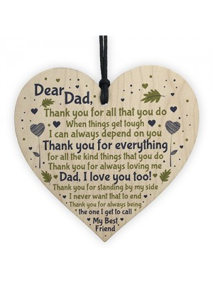 Dad Daddy Gift From Son Daughter Wooden Heart Sign Birthday Gift