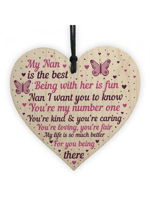 Special Gift For Nan Wood Heart Nan Birthday Card Gift For Her