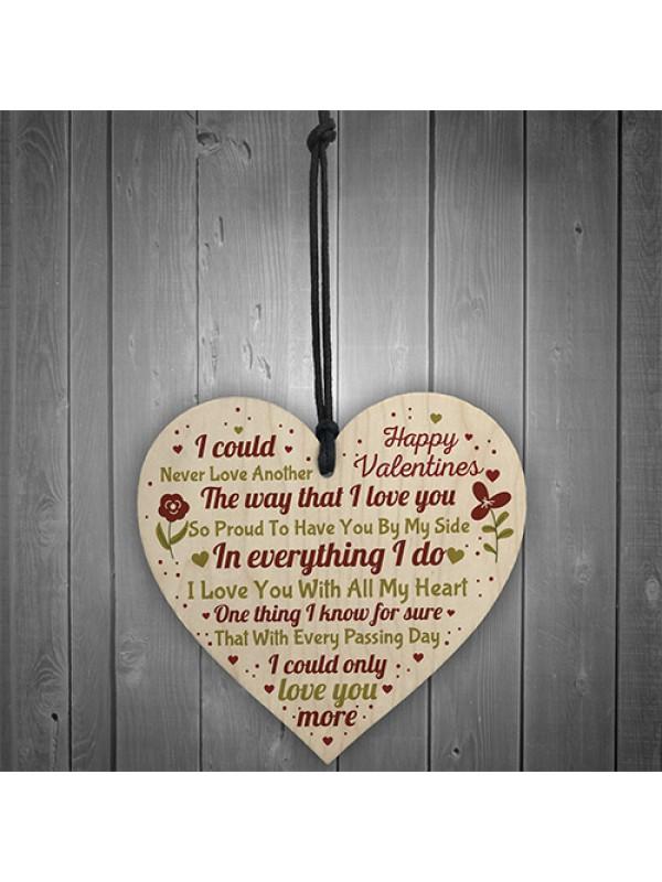 Valentines Day Wood Heart Gift Keepsake For Boyfriend Girlfriend