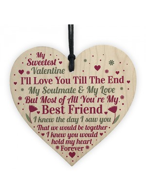 Valentines Day Gift For Boyfriend Girlfriend Husband Wood Heart